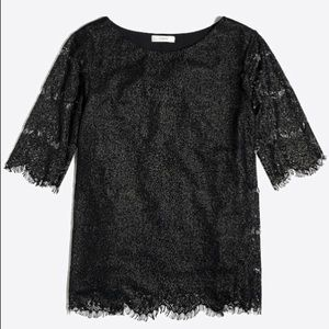 J. Crew Black Lace Metallic Eyelash Hem Blouse